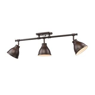 Golden Lighting Duncan Rubbed Bronze 3-light Semi Flush Mount Track Light