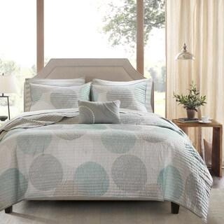 Madison Park Essentials Covina Aqua Complete Coverlet and Cotton Sheet Set