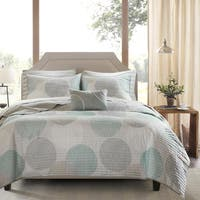 Madison Park Essentials Covina Aqua Complete Coverlet and Cotton Sheet Set
