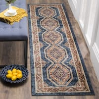 Safavieh Bijar Traditional Oriental Royal Blue/ Rust Distressed Runner (2' 3 x 12')