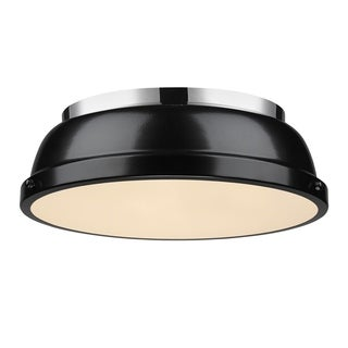 Golden Lighting Duncan Chrome 14' Flush Mount With Black Shade
