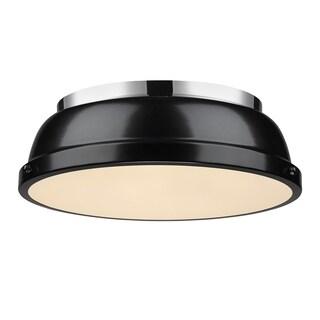 Golden Lighting Duncan Chrome 14' Flush Mount With Black Shade