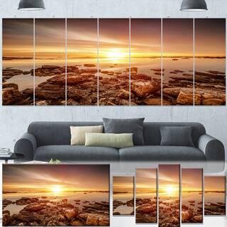 Designart 'Beautiful Sunset Over Rocky Beach' Large Seashore Canvas Artwork Print|https://ak1.ostkcdn.com/images/products/13305821/P20013322.jpg?impolicy=medium