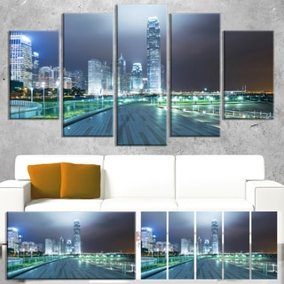 Designart 'Night Pathway in Modern City' Large Cityscape Art Print on Canvas