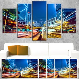 Designart 'Hong Kong City Night Scene' Large Cityscape Art Print on Canvas