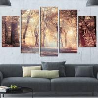 Designart 'Golden Autumn Beautiful Forest' Landscape Artwork Canvas Print - GOLD