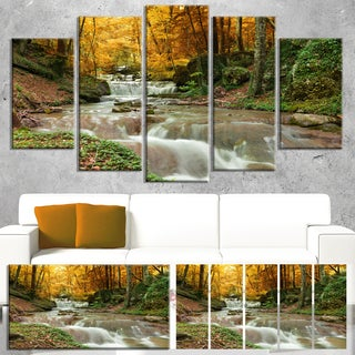 Designart 'Forest Waterfall with Yellow Trees' Landscape Artwork Canvas Print (3 options available)