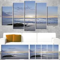 Designart 'Beautiful Rocky Seashore in Blue' Large Seashore Canvas Artwork Print