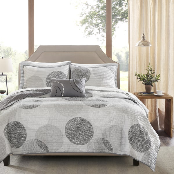 Madison Park Essentials Glendale Grey Complete Coverlet and Cotton Sheet Set