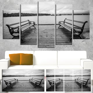Designart 'Benches on Bridge by Water Side' Large Bridge Canvas Wall Artwork