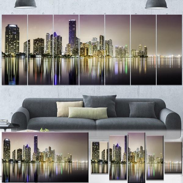 Cityscape Wall Art designart 'miami downtown night panorama' extra large cityscape