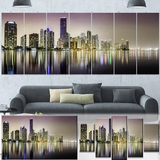 Designart 'Miami Downtown Night Panorama' Extra Large Cityscape Wall Art on Canvas - Purple
