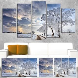 Designart 'Cloudscape in White Winter Terrain' Landscape Artwork Canvas Print