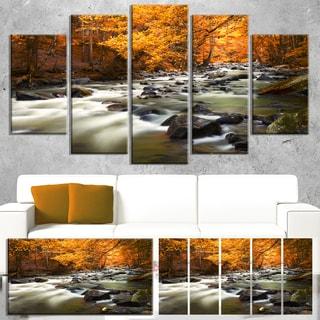 Designart 'Autumn Terrai with Trees and River' Landscape Artwork Canvas Print - Brown