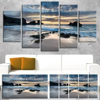 Designart 'Beautiful Porthcothan Bay' Modern Seashore Canvas Wall Art Print|https://ak1.ostkcdn.com/images/products/13305986/P20013361.jpg?impolicy=medium