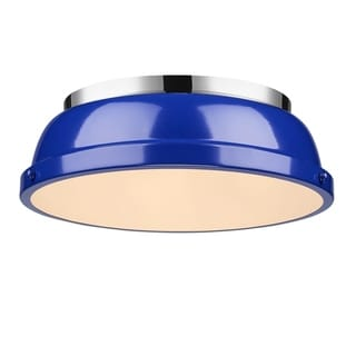 Golden Lighting 'Duncan' Chrome 14-inch Flush Mount With a Blue Shade