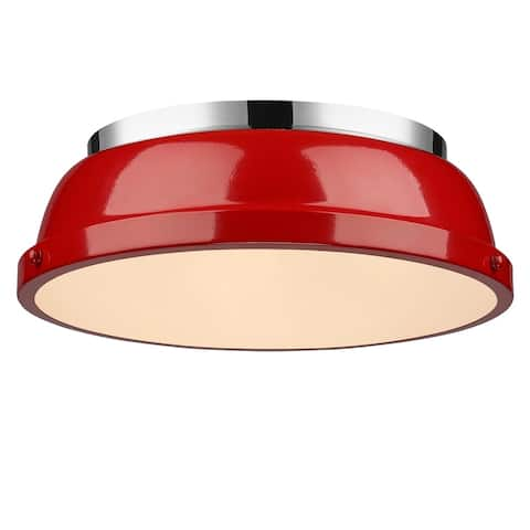 Golden Lighting Duncan Chrome Steel 14-inch Flush Mount with Red Shade