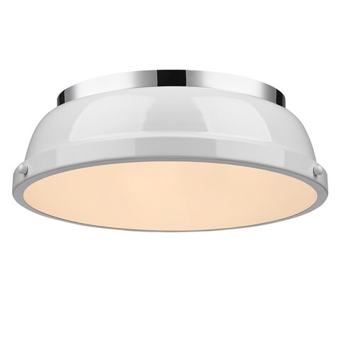 Golden Lighting Duncan Chrome With White Shade Steel 14-inch Flush Mount Light