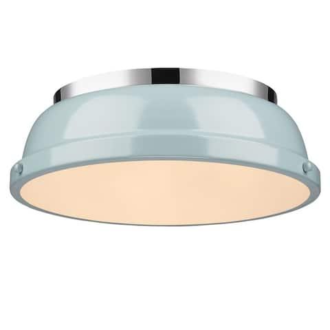 Golden Lighting Duncan Chrome With Seafoam Shade 14-inch Flush-mount Light Fixture