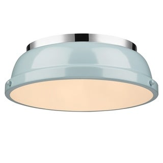 Golden Lighting Duncan Chrome With Seafoam Shade 14-inch Flush-mount Light Fixture