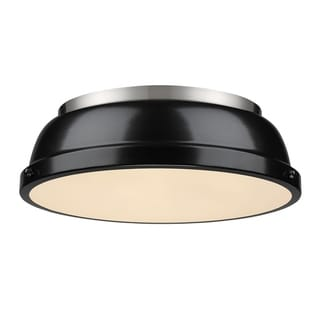 Golden Lighting Duncan Pewter/Black Metal 14-inch' Flush Mount Fixture