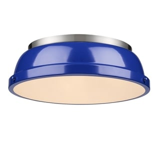Golden Lighting Duncan Pewter Steel 14-inch Flush-mount Light Fixture With Blue Shade