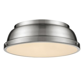 Golden Lighting Duncan Pewter Steel 14-inch Flush Mount With Pewter Shade