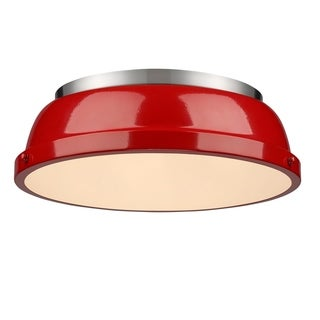 Golden Lighting Duncan Pewter Steel 14-inch Flush Mount With Red Shade
