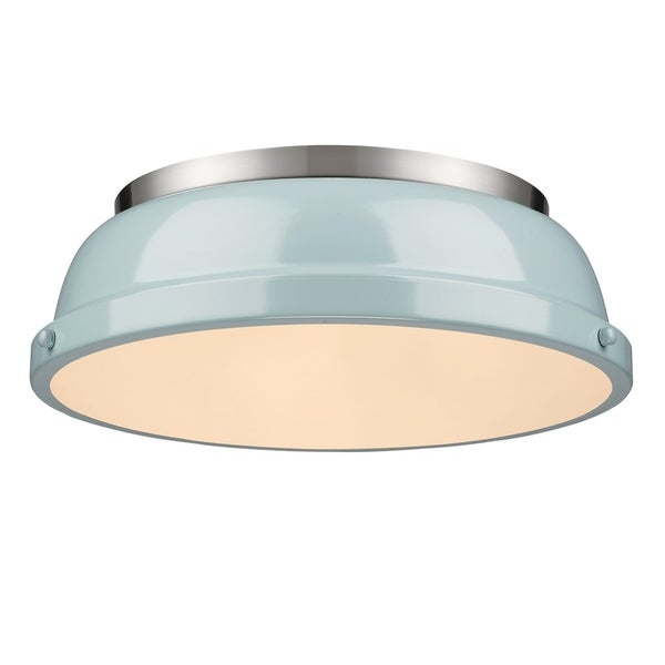 Golden Lighting Duncan Pewter Steel 14-inch Flush Mount With Seafoam Shade. Opens flyout.