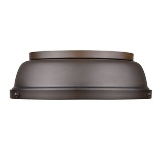 Golden Lighting Duncan Rubbed Bronze 14-inch Flush Mount With Rubbed Bronze Shade