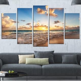 Designart 'Sunrise on Beach of Caribbean Sea' Large Seashore Canvas Artwork Print