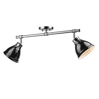 Golden Lighting Duncan Black Chrome Metal 2-light Semi-flush Light Fixture
