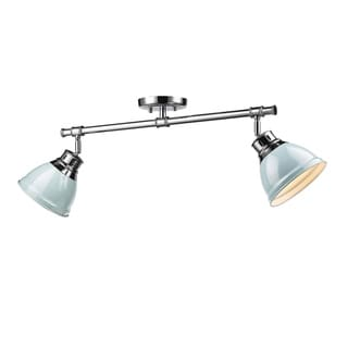 Duncan 2 Light Semi-Flush in Chrome with Seafoam Shades