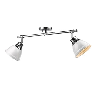 Golden Lighting Duncan 2-light Semi-flush in Chrome With White Shades