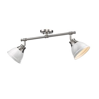 Golden Lighting Duncan White Pewter 2 Light Semi Flush Mount Light