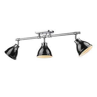 Golden Lighting Duncan Chrome With Black Shades 3-light Semi-Flush Track Light