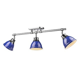 Golden Lighting Duncan Chrome With Blue Shades 3-light Semi-flush Track Lighting