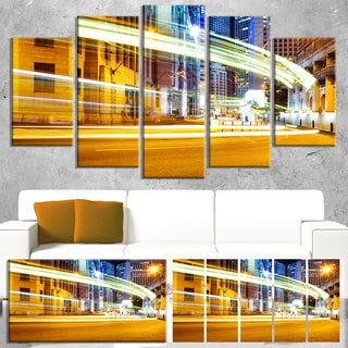 Designart 'Blur Motion Traffic Trail in Modern City' Extra Large Cityscape Wall Art on Canvas