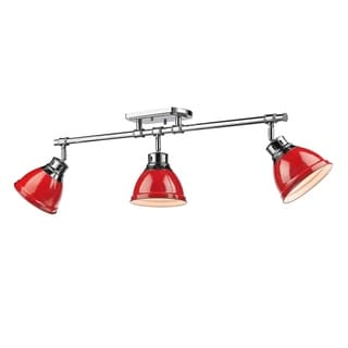 Golden Lighting Duncan Chrome With Red Shades 3-light Semi-Flush Track Light