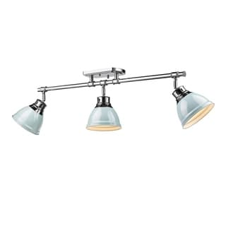 Golden Lighting Duncan Chrome With Seafoam Shades Steel 3-light Semi-flush Track Light