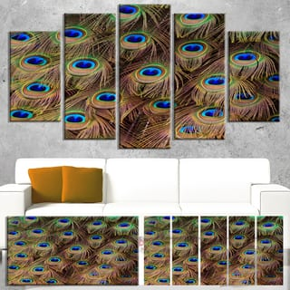 Designart 'Peacock Bird Tail Feathers in Close-Up' Modern Animal Canvas Wall Artwork - Blue