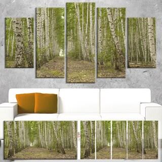 Designart 'Dense Birch Grove in Summer Day' Modern Forest Canvas Wall Artwork