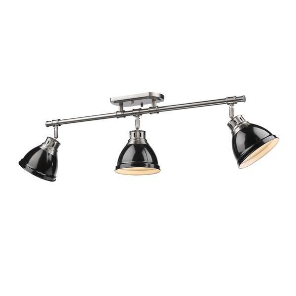 Golden Lighting Duncan Pewter With Black Shades 3-light ...