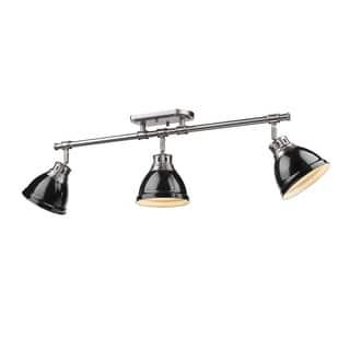 Golden Lighting Duncan Pewter With Black Shades 3-light Semi-Flush Track Light