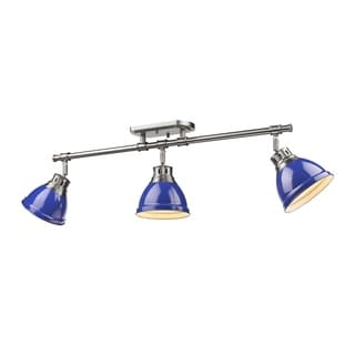 Golden Lighting Duncan Grey/Blue Pewter/Steel 3-light Semi-flush Track Fixture