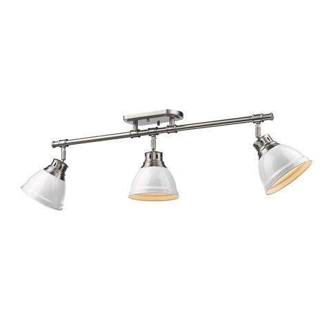 Golden Lighting Duncan White Pewter 3 Light Semi Flush Mount Track Light