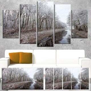 Designart 'Trees in White Winter Landscape' Landscape Artwork Canvas Print