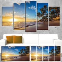 Designart 'Paradise Tropical Island Beach Sunrise' Modern Seashore Canvas Wall Art Print