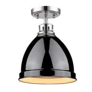 Golden Lighting Duncan Chrome and Black Steel Flush Mount Light