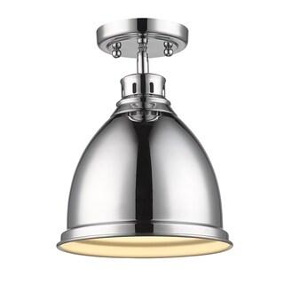 Golden Lighting Duncan Chrome Flush Mount Light Fixture